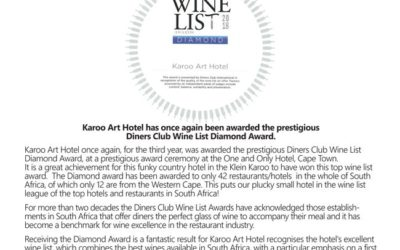 Karoo Art Hotel Diamond Award