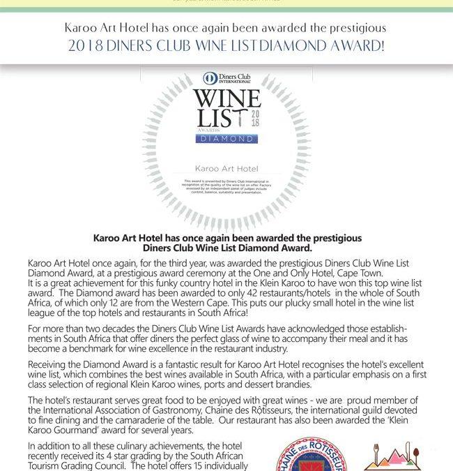 Karoo Art Hotel Diamond Award